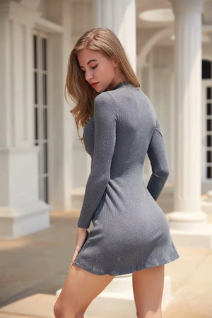Long Sleeve Solid Color Fashion A Line Mini Dress - Grey