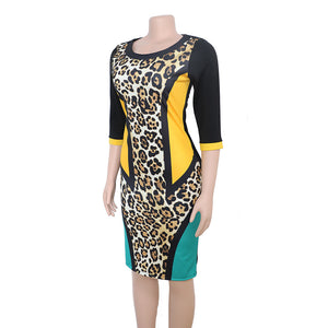 Leopard Patchwork Three Quarter Sleeve Knee Length Pencil Dress L-3XL