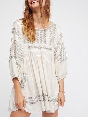 Thnic Embroidered White Vintage Backless Boho Loose Hippie Short Dress
