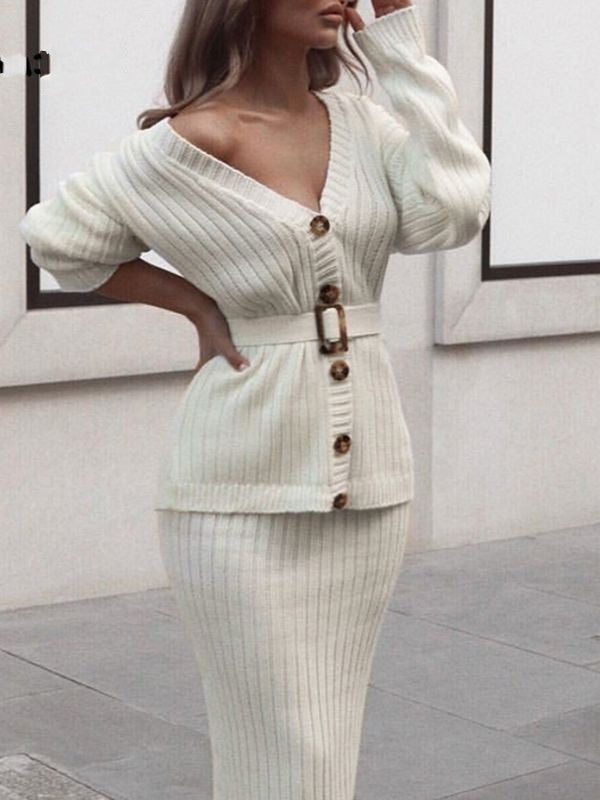 Women Knitted Sweater Elegant Autumn Winter Two Pieces Skirt Suit