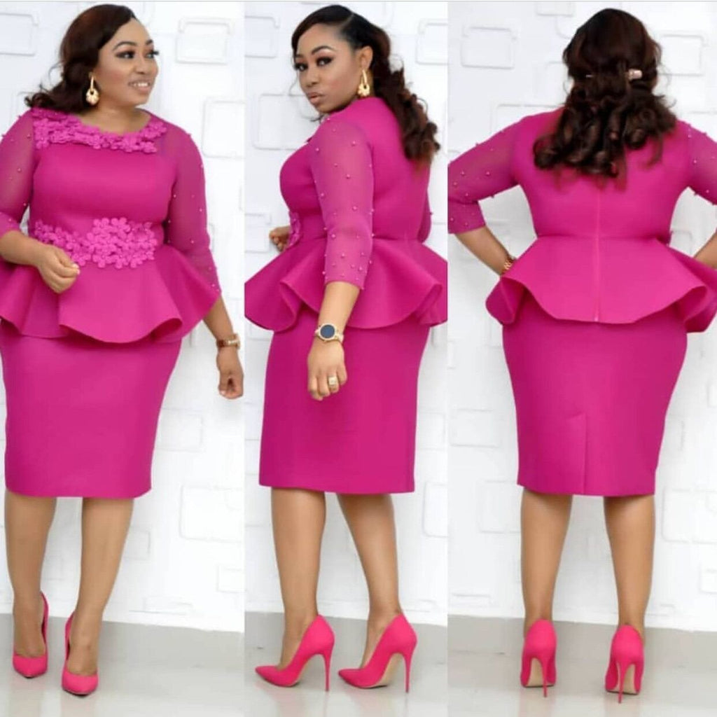 3D Rose Stitching Mesh Plus Size Dress L-3XL