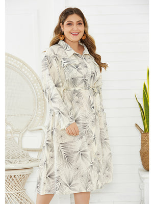 Elegant Plain Botanical Print  Single-Breasted Sash Long Sleeve Midi Dress XL-4XL