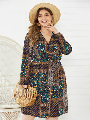 Mid-Calf V-Neck Bohemian Long Sleeve Brown Lace Up Flowers Print Dress XL-4XL