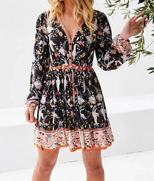 Sky Floral Long Sleeve V Neck Mini Dress