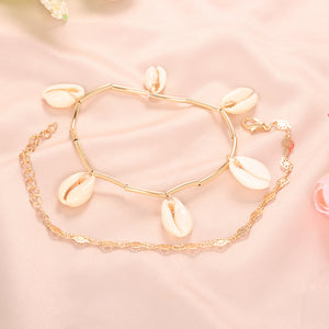 2Pcs/Set Bohemian Trendy Natural Shell Charm Bracelet