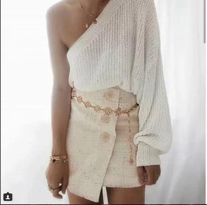Sexy One Shoulder White Color Sweater