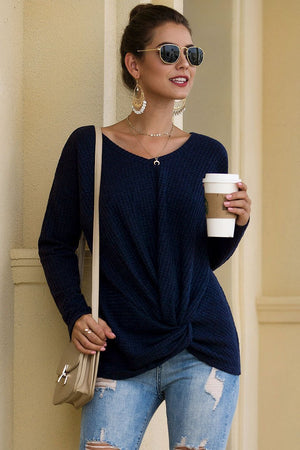 Long-sleeved V-neck knotted Fashionable Casual Tops