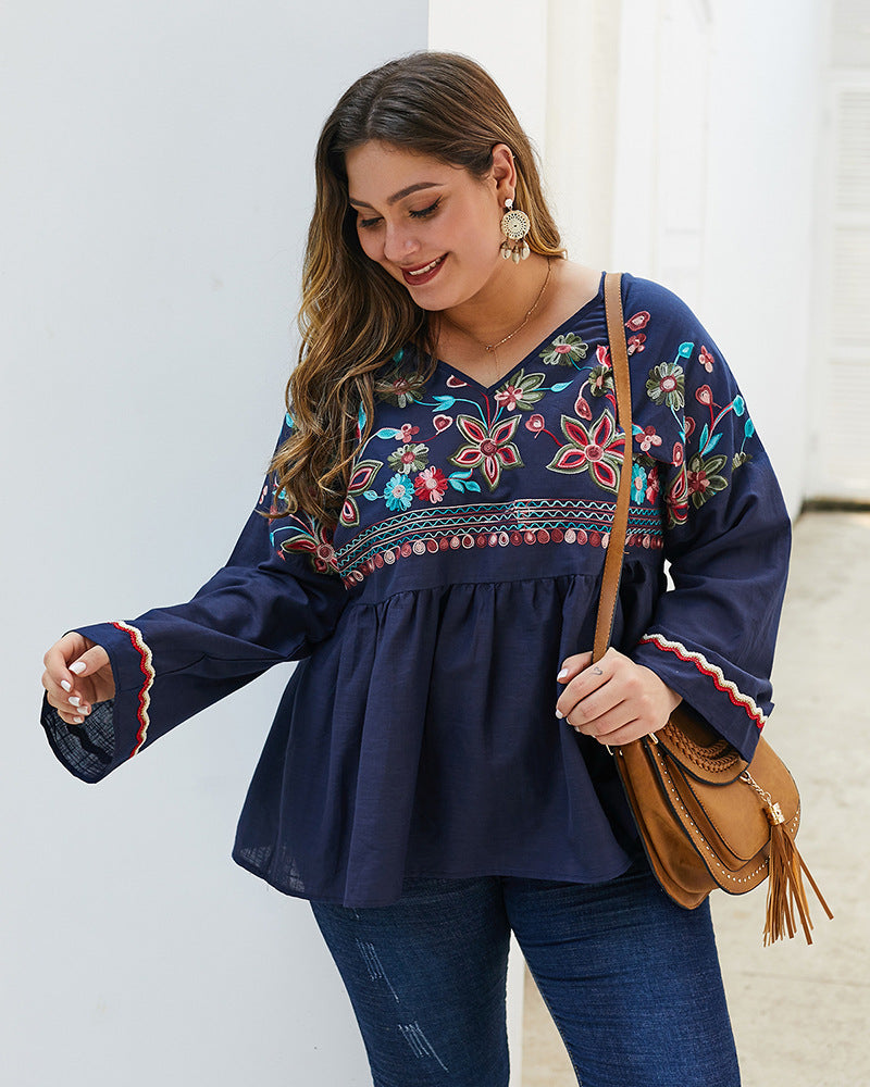 Summer V Neck Flare Sleeve Embroidery Floral Solid Casual Blouse XL-4XL