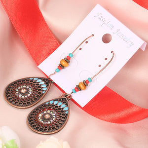 Oval Round Shape Vintage Bohemian Floral Earring