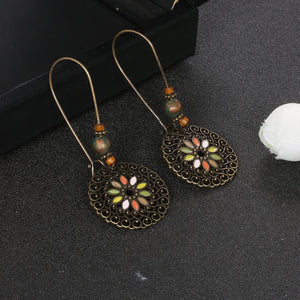 Vintage Bohemia Colorful Hollow Water Droplets Round Tassel Earrings