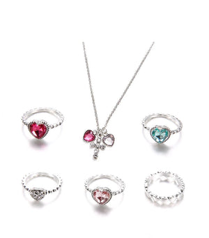 6 Pcs/set Bohemian Retro Cross Heart Crystal Gem Silver Necklace Set
