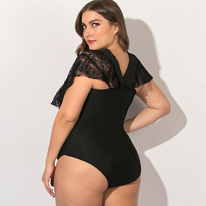 Sexy Black Lace Hollow One Piece Swimsuit L-4XL