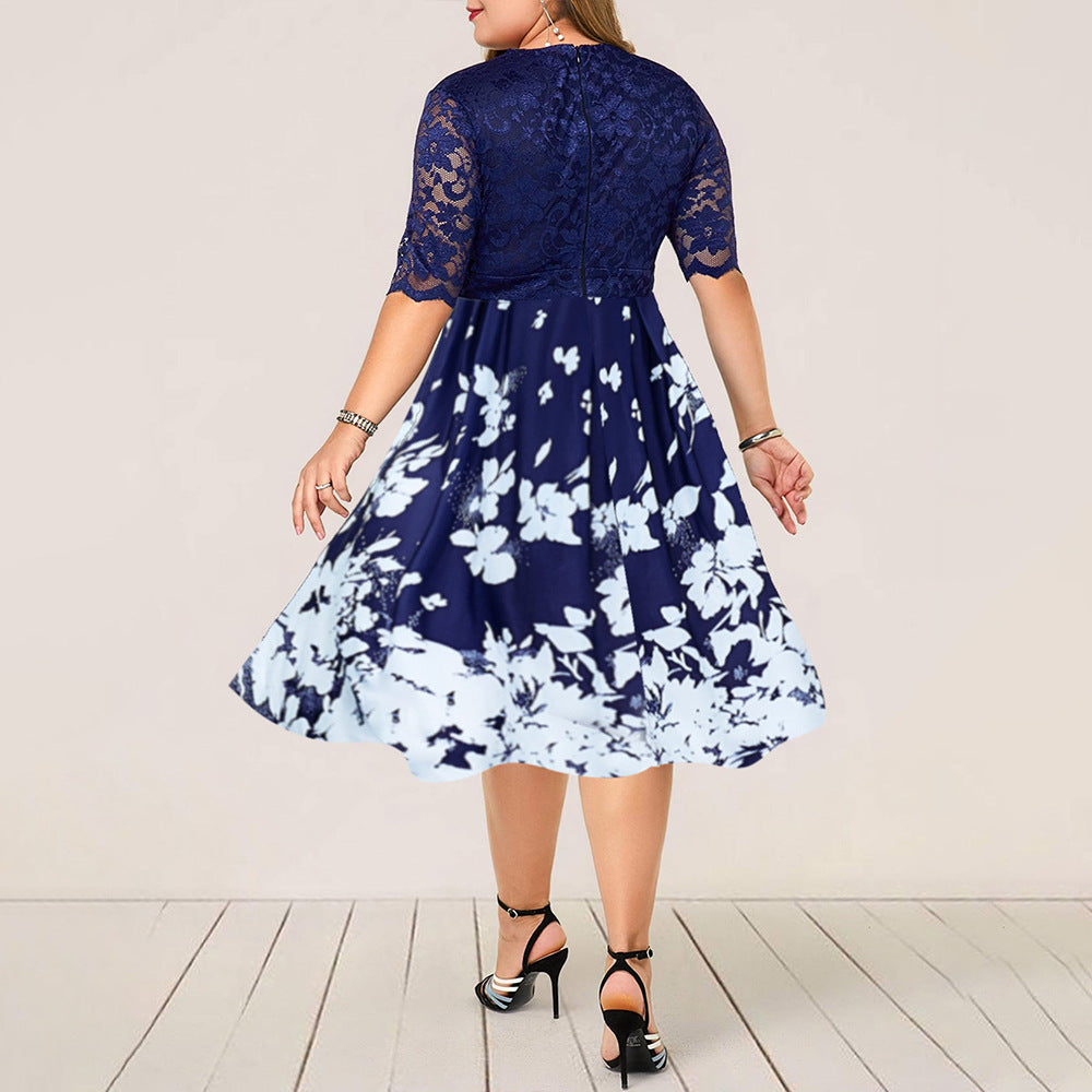 Patchwork Flower Sexy Lace Calf Elegant  Midi Dress L-6XL