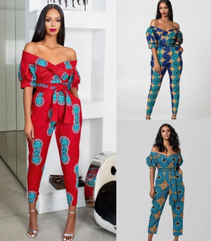 Lantern Sleeves Off-the-shoulder neckline Jumpsuit