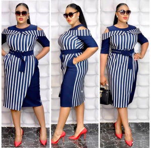 Striped Bustier OL Plus Size Dress L-3XL