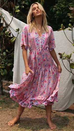 Vacation Vintage Pink Print Dress