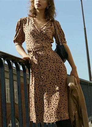 Vintage Leopard Print Fashion Midi Dress