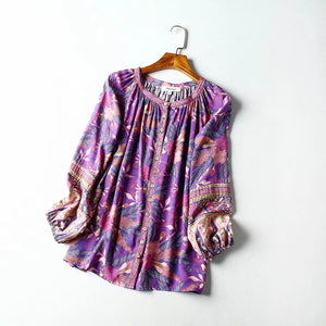 Vintage Spun Rayon Printed Long-sleeved shirt