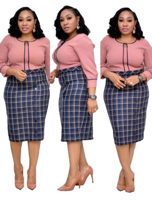Plaid Stitching Button Plus Size Fake Dress