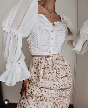 Vintage Pearl Buckled Pleated Long Sleeve Chiffon Shirt