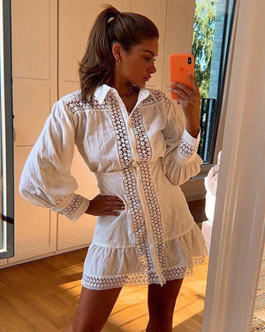 Lace Panel Long Sleeve Shirt Lace White Dress