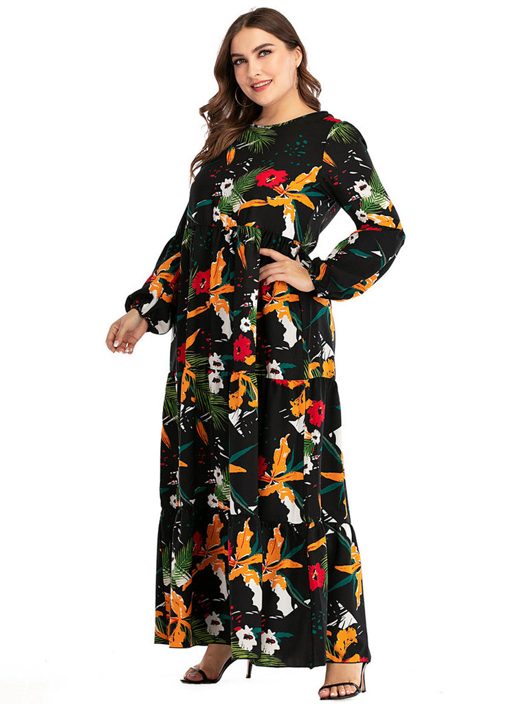 Summer Long Sleeve Floral Print Boho Maxi Dress XL-5XL