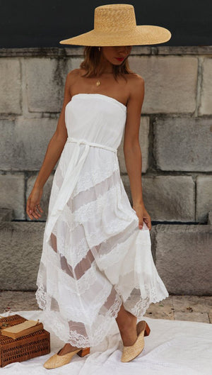 Wrap Irregular Medium Long White Dress