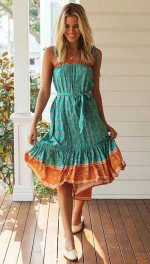 Vintage Print Waist Tie Fashion Boho Midi Dress