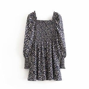 Square Collar Vintage Print Elasticated Dress