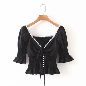 Women Ruffle Chic Black Vintage V-neck Pearl Button Blouse