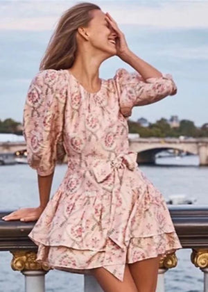 Fashion Love Long Sleeve Lace Printing Dress