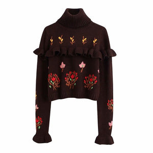 Flower Embroidered Layered Knit Sweater
