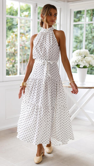 Bohemian Polka Dots Sleeveless Halter NecK Maxi Dress