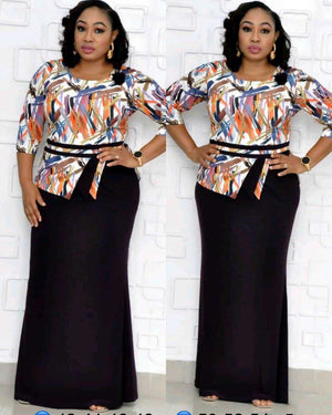 Fake Two-piece Print Long Dress XL-4XL