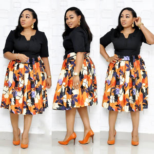 Elegent Fashion Style Plus Size Knee-length Midi Dress L-3XL
