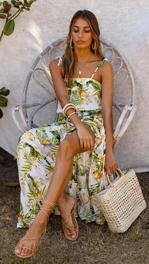 Leisure Vacation Tropical Rain Forest Print Lace Up Strap Dress