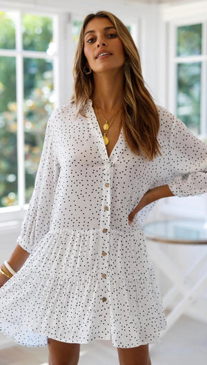 Wavelet Dot Print Nine Sleeve Single-Breasted Loose Short Dress