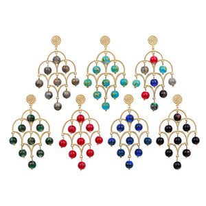 Enamel Life Tree Glazed Alloy Vintage Earrings