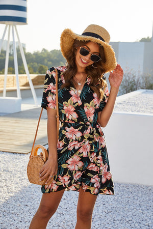 Flower Print Wrap Lace Up V-Neck Short Sleeve Dress