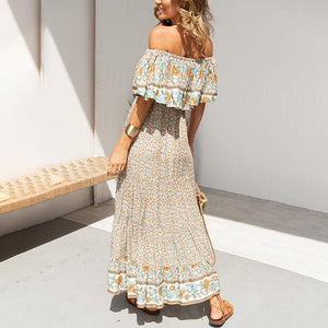 Off Shoulder Tassel Trim Flounce Floral BOHO Maxi Dress