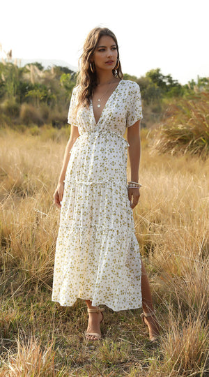 Deep V Neck Gypsy Style Ruffled Printed Maxi Dress