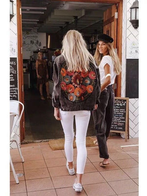Boho Inspired Multi Floral Embroidered Denim Jacket