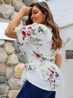 Short Sleeve V-neck Pleated Floral Print Chiffon Blouse XL-4XL