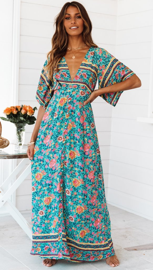 Bohemian V-neck backless dress