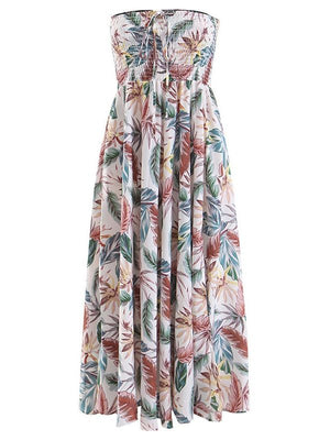 Bohemian Travel Holiday Skirt Tropical Floral Print Tube Top Halter Dress