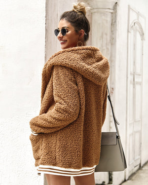 Khaki Autumn Hooded Fuzzy Boho Sweaters cardigan