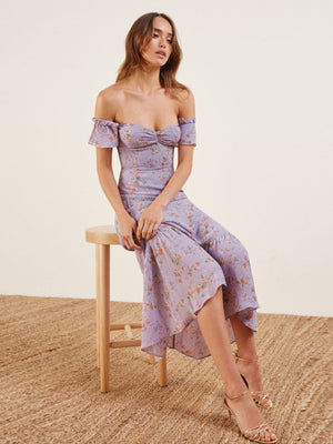 Purple Sexy Off Shoulder Elegant Print Party Dress