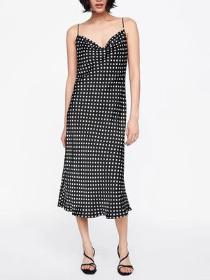 Polka Dot Adjustable Sling Open Back V-neck Mid-length Dress