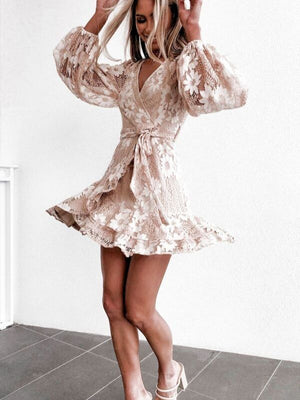 Boho Floral Embroidered Lace Sexy V Neck Ruffle With Waist Tie Mini  Dresses