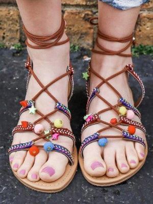 Boho Vintage Lace-Up Flat Heel Shoes Sandals